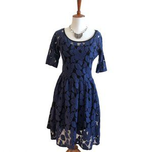 Sparrow, Blue Flocked Lace 2 piece Dress Small
